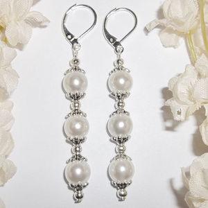 Long White Pearl Earrings Set Simple Elegance 4902